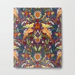Victorian damask purple Metal Print