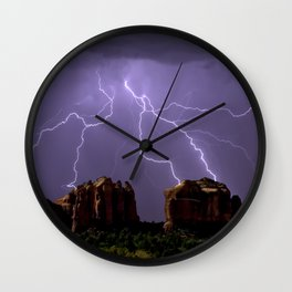 Cathedral Rock Lightning viewed from Little Horse Trail Sedona AZ Wall Clock