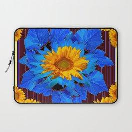 Decorative Sunflower Patterns Blue Leaves Laptop Sleeve