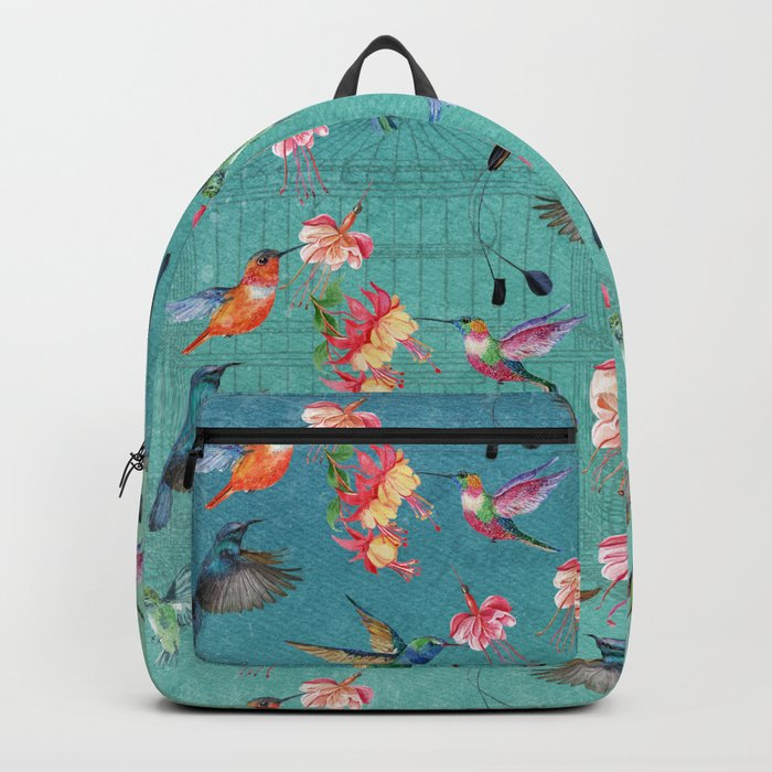 Vintage Watercolor hummingbirds and fuchsia flowers Backpack