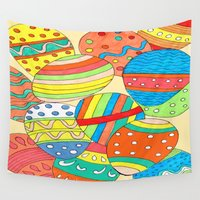 eggs Wall Tapestries featuring Easter Eggs by Rosie Brown