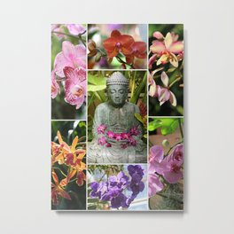Buddha with Orchids Collage Metal Print