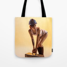 """Handywoman"" - The Playful Pinup - Hard Hat Construction Pin-up Girl by Maxwell H. Johnson Tote Bag"
