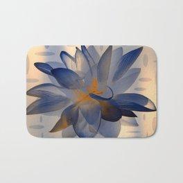 Midnight Blue Polka Dot Floral Abstract Bath Mat