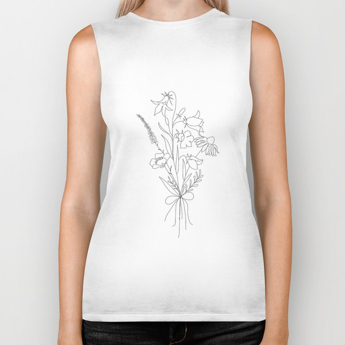 Small Wildflowers Minimalist Line Art Biker Tank