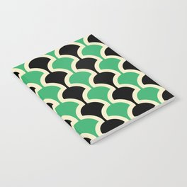 Classic Fan or Scallop Pattern 447 Black and Green Notebook