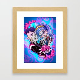Zombie lovers sharing a brain Framed Art Print