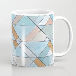 Shifting Pattern Turquoise and Gold Coffee Mug