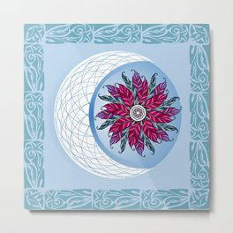 Circular ornament design element. Vector feather Mandala. Metal Print