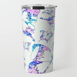 Electric blue, pink and white mandala exo butterfly Travel Mug