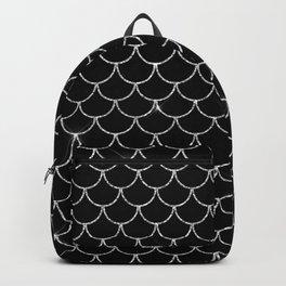 Black & Silver Mermaid Scales Pattern Backpack