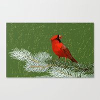 cardinal Canvas Prints featuring Cardinal by Janko Illustration