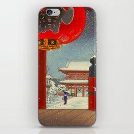 Tsuchiya Koitsu A Winter Day at The Temple Asakusa Vintage Japanese Woodblock Print iPhone Skin