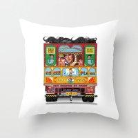 truck Throw Pillows featuring TRUCK ART by urvi