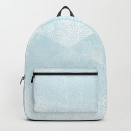 Light Blue and White Geometric Triangles Lino-Textured Print Backpack