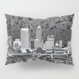 indianapolis city skyline black and white Pillow Sham