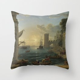 Seaport with the Embarkation of the Queen of Sheba by Claude Throw Pillow