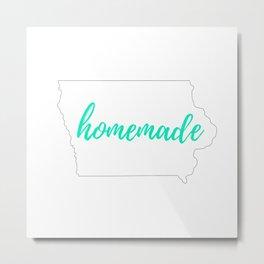 Iowa Outline - Homemade - White and Mint Metal Print