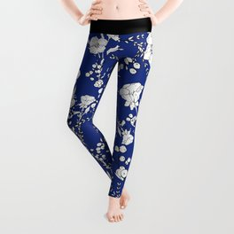 Botanical hand painted navy blue white floral Leggings