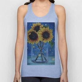 Lightning Bugs and Sunflowers Unisex Tank Top