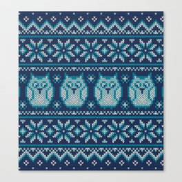 Owls winter knitted pattern Canvas Print