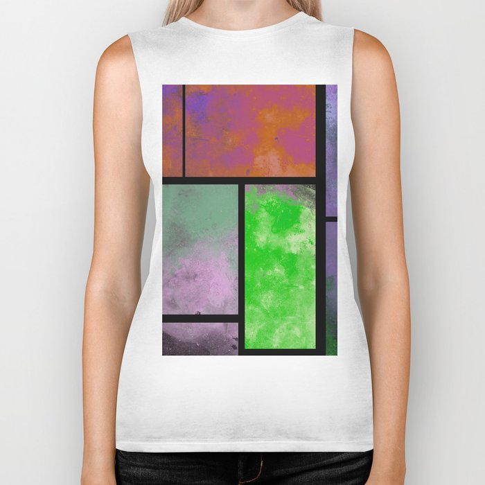 Textured Windows - Modern, abstract, textured painting Biker Tank