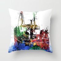 fishing Throw Pillows featuring Fishing by Viktor Andersson