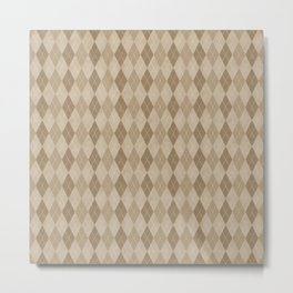 Textured Argyle in Tan and Beige Metal Print