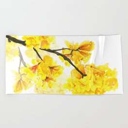 yellow trumpet trees watercolor yellow roble flowers yellow Tabebuia Beach Towel