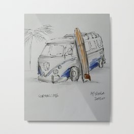 Coastal life bus and surfboard Metal Print