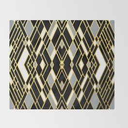 Art Deco Grey Gold Throw Blanket