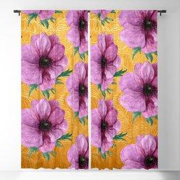 Lilac Pink Vintage Floral Pattern On Gold Leaf Background Blackout Curtain