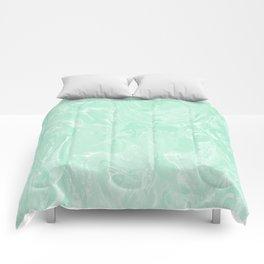 Mint Green Pastel Marble Minimalist Comforters