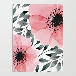 Big Watercolor Flowers Poster