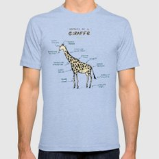 Anatomy of a Giraffe Tri-Blue LARGE Mens Fitted Tee