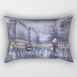 City of Lights, Eiffel Tower, Twilight Paris, France Street Scene landscape painting Rectangular Pillow