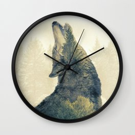 Wolf Howl - Double Exposure Wall Clock