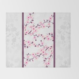 Cherry Blossoms Pink Gray Asiastyle Throw Blanket