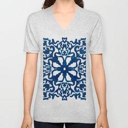 Portuguese inspired tile art in blue hues Unisex V-Neck