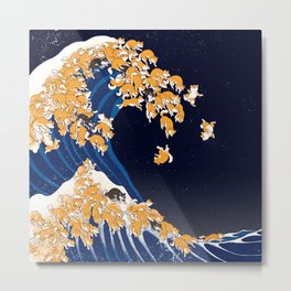 Shiba Inu The Great Wave in Night Metal Print