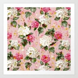 Vintage green pink white bohemian hortensia flowers Art Print