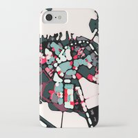 boston map iPhone & iPod Cases featuring Abstract Map- Boston Harbor by Carland Cartography