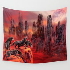 Wolves of Future Past landscape Wall Tapestry