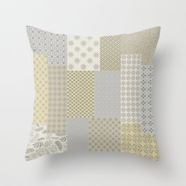 Modern Farmhouse Patchwork Quilt in Gray Marigold and Oatmeal Throw Pillow