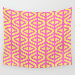 Mid Century Modern Split Triangle Pattern Pink and Yellow 2 Wall Tapestry