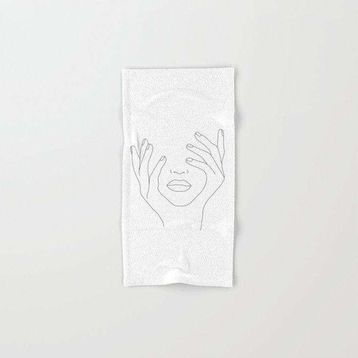 Minimal Line Art Woman with Hands on Face Hand & Bath Towel