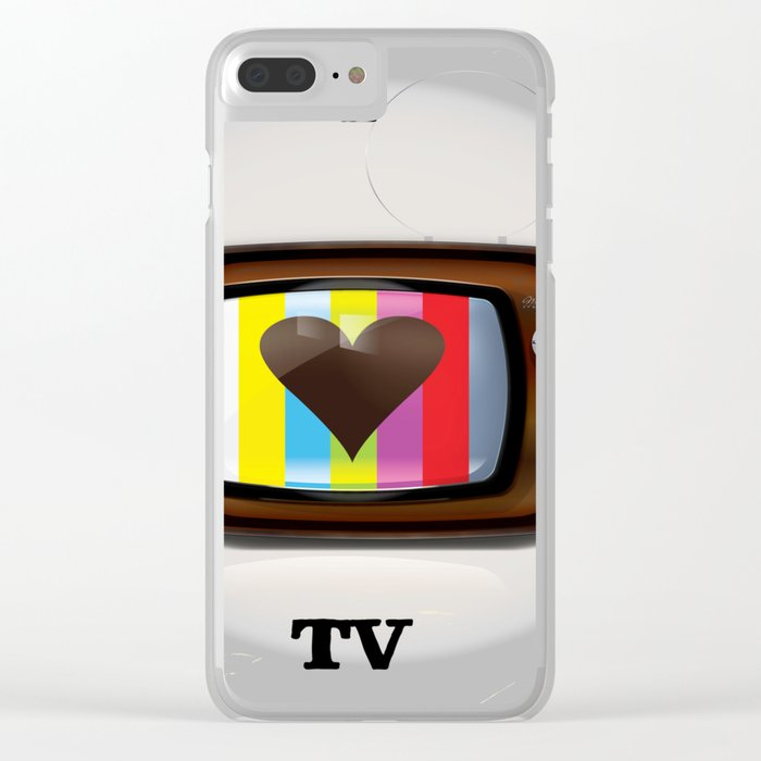 I Love TV vintage poster Clear iPhone Case by nicholasgreen