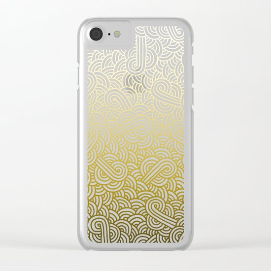 Gradient yellow and white swirls doodles Clear iPhone Case