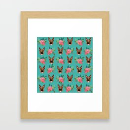 German Shepherd florals bouquet dog breed pet friendly pattern dogs Framed Art Print
