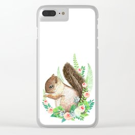 squirrel with flowers Clear iPhone Case